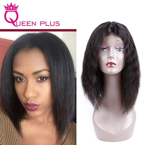 Queen Plus Hair Full Head Glueless Top Lace Front Wig 7a Brazilian Virgin Human Hair Natural Color Super Deep Wave Adjustable Strap U Part Short Bob Lace Wigs for Glamorous Women (12inch ARHL-0154)