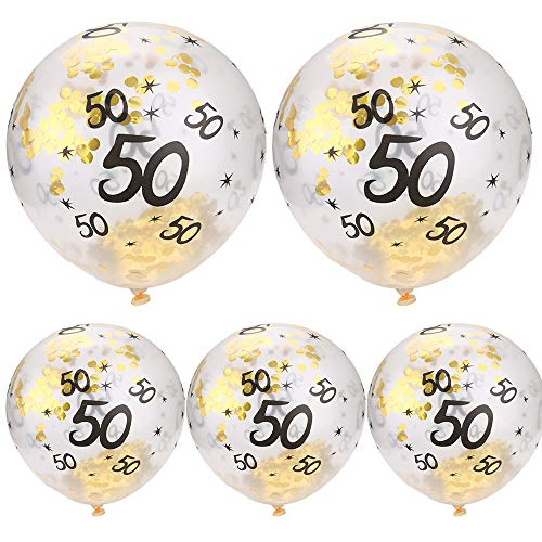 FAERIE 5Pcs 30 40 50th Happy Birthday Age Confetti Filled Balloons Wedding Party Decor - 50th Anniversary Cookie Jar