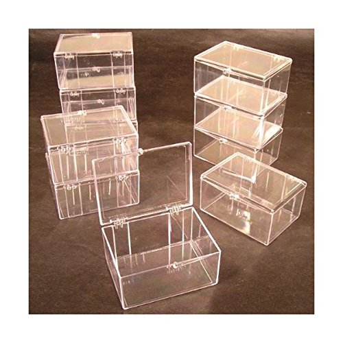 (Lot of 15 Crystal Clear Hinged Plastic Trading Card Storage Boxes (100-ct) - Made in the U.S.A.)
