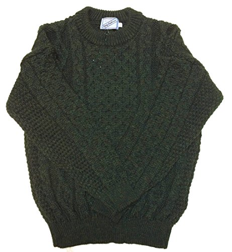 Kerry Woollen Mills Aran Sweater Crew Neck 100% Wool Unisex Green Irish Made XL ()