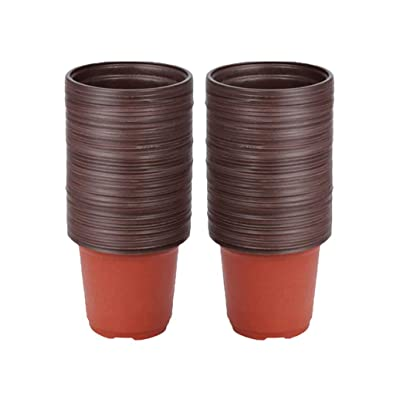 "VIDELLY 50 Pieces Plastic Pots - 3"" Small Mini Flower Nursery Pots with Drainage Holes Terracotta Planter Cactus Flower Pots for Indoor Outdoor Succulent Plants, Crafts, Wedding Favor: Garden & Outdoor"