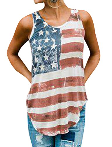 SCX Women American Flag Print Shirts USA Flag Tank Top Cool Striped Back Cut Out Tees
