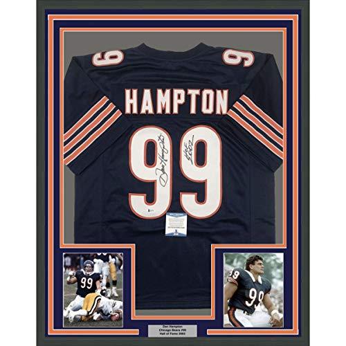 Framed Autographed/Signed Dan Hampton HOF 2002 33x42 Chicago Blue Football Jersey Beckett BAS COA