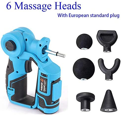 6 Attachments Personal Percussion Massage Gun – Rechargeable Handheld Deep Tissue Muscle Massager with Rotating Head, 2 Fast Change Batteries and European Standard Plug – Blue