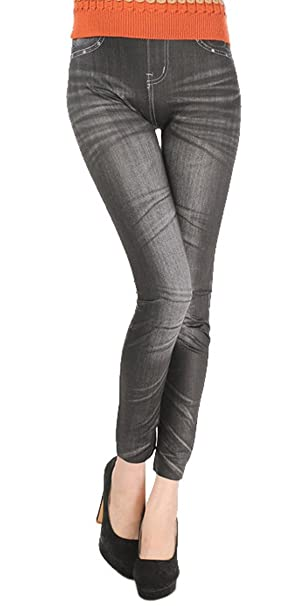 Women Stretch Denim Jean Look Skinny Leggings Slim Jeggings Tight Pants Uy