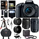 Canon EOS Rebel T7i EF-S 18-55 is STM Camera Kit, EF 75-300mm III, Lexar 633x U3 64GB, XIT Wide Angle, Telephoto Lens, Ritz Gear 57' Tripod and Accessory Bundle