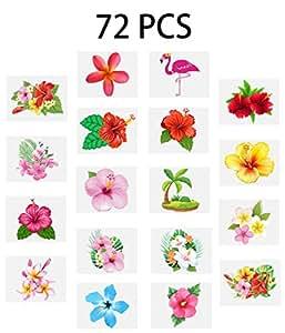 Luau Hibiscus Temporary Tattoos --Hawaiian/Tropical/Flamingo/Summer Pool Party Decorations Supplies Favors (72 PCS)