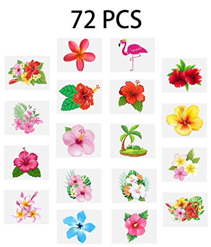 Luau Hibiscus Temporary Tattoos --Hawaiian/Tropical/Flamingo/Summer Pool Party Decorations Supplies Favors (72 PCS)