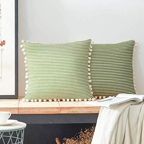 COMHO Cotton Woven Stripe Throw Pillow Covers with Balls, Decorative Cushion Covers, Square Farmhouse Pillowcases, for Sofa Bedroom Car Chair 18x18 Inch (Grass Green, Pack of 2) ()
