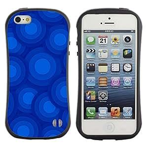 LASTONE PHONE CASE / Suave Silicona Caso Carcasa de Caucho Funda para Apple Iphone 5 / 5S / Blue Circles Pattern