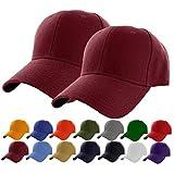 Set of 2 Maroon Plain Adjustable Baseball Cap Classic Adjustable Hat Men Women Unisex Ballcap 6 Panels (Maroon -2Pack)