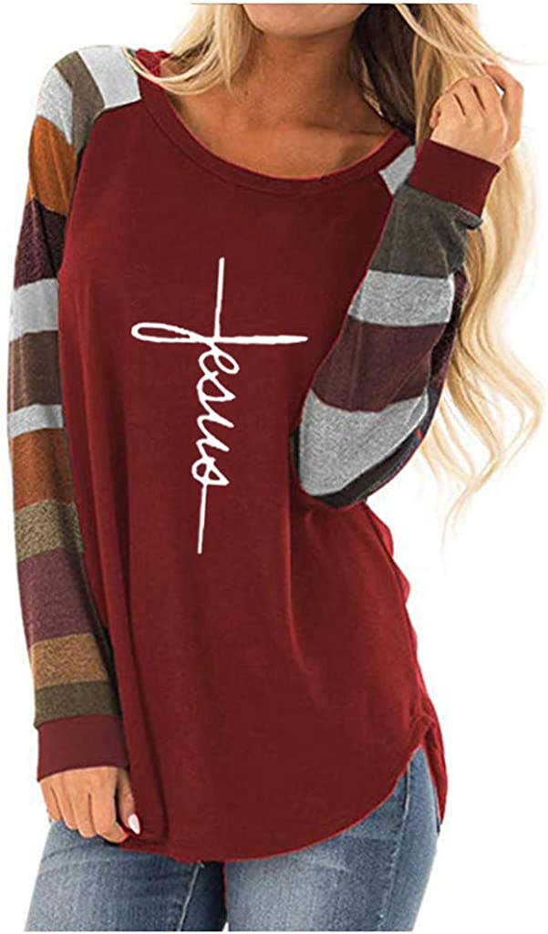 SGYH Womens Casual Oversized Loose Colorblock Long Sleeve Tunic Top Shirts Blouse T-Shirt Tops Pullover