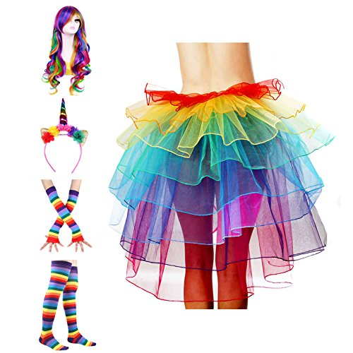 ECOSCO Women's Rainbow Wave Wig Long Gloves Socks 8Layered Tail Tutu Skirt Floral Headband Set (A) -