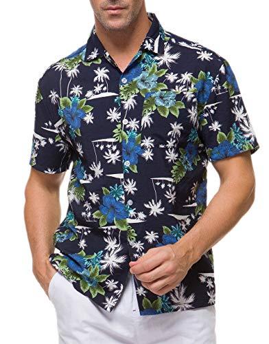 Janmid Men's Tropical Hawaiian Shirt Casual Button Down Short Sleeve Shirt Navyblue Whitetree L ()