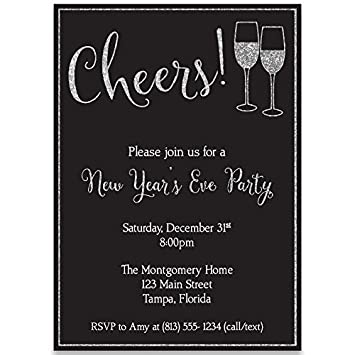 new years eve party invitations cheers champagne winter chalkboard blackboard