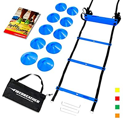 AGILITY LADDER and CONES. Great Training Equipment to Practice Speed Drills in Soccer, Football, Basketball & Sports. Set of 15ft Ladder, 10 Markers, Pegs, Bag & Exercise Ebook
