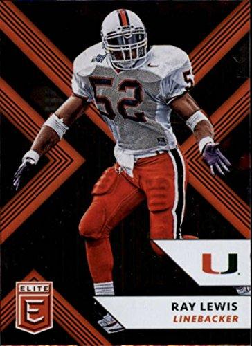 Ray Lewis Card - 2018 Panini Elite Draft Picks #82 Ray Lewis Miami Hurricanes Football Card