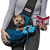 Lumar Pet Sling Carrier for Dogs and Cats Hands Free, Adjustable Size and Adaptable System for The Seatbelt Safety in The Car Toy Bonus for Traveling from 9lbs to 20lbs (Blue) Measure Your PET Before