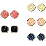 Jane Stone Fashion Resin Square Colorful Faux Druzy Stone Stud Earrings for Women and Teens(E0630-S-5)