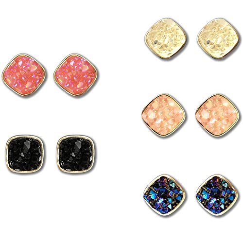 Jane Stone Fashion Resin Square Colorful Faux Druzy Stone Stud Earrings for Women and Teens(E0630-S-5) -