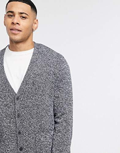 エイソス カーディガン メンズ ASOS DESIGN knitted textured boxy button cardigan in grey twist [並行輸入品]