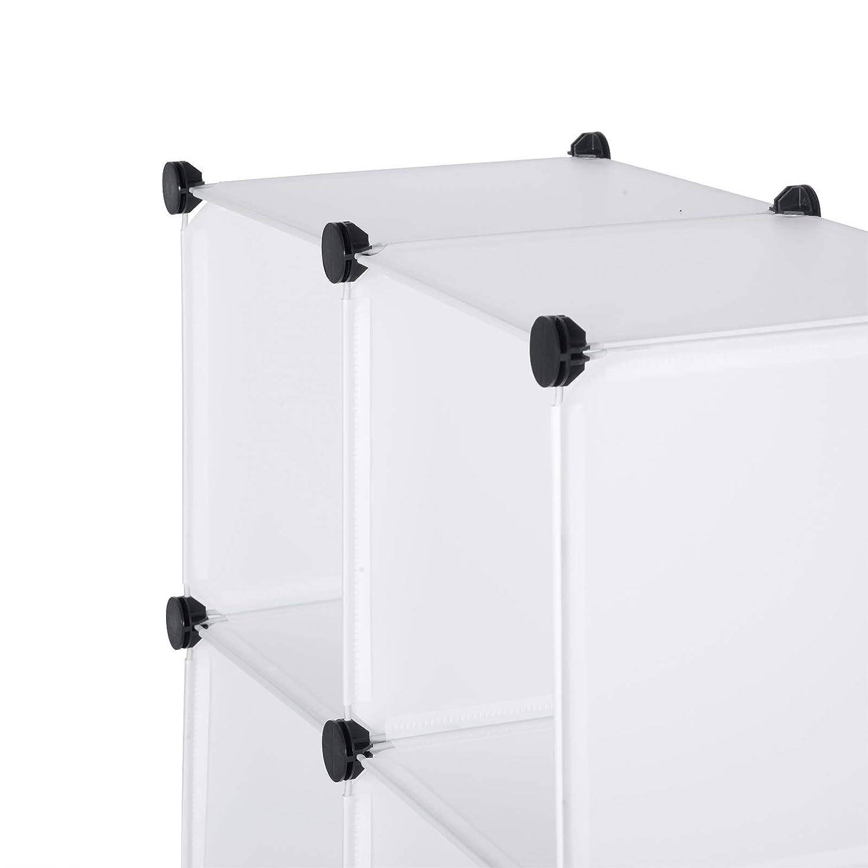 eSituro SGR0034 Armoire avec Penderie Modulable 6 Cubes avec Portes /Étag/ère de Rangement en Plastique DIY Blanc