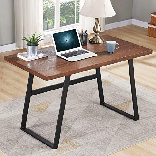 BON AUGURE Rustic Wood Computer Desk, Industrial PC Writing Desk, Vintage Study Table for Home Office Workstation (47 inch, Espresso)