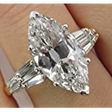 Women Fashion Jewelry 925 Silver White Sapphire Wedding Engagement Ring (8)