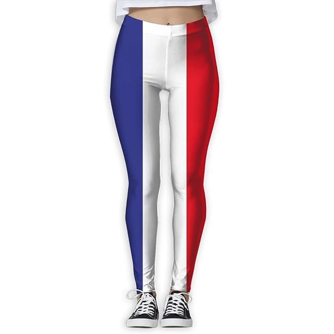 2715c72906f42 Amazon.com: SHEERY Women's Yoga Workout Leggings France Flag Thin ...
