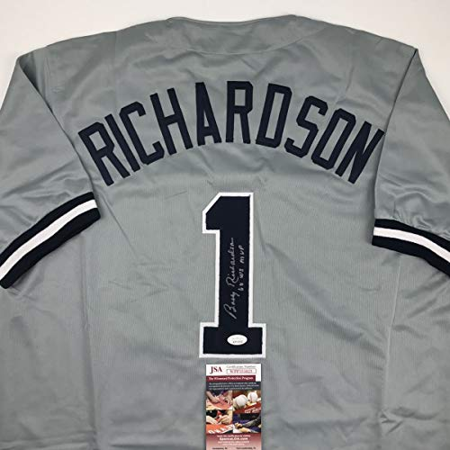 Yankee Framed Mini - Autographed/Signed Bobby Richardson 60 WS MVP New York Grey Baseball Jersey JSA COA