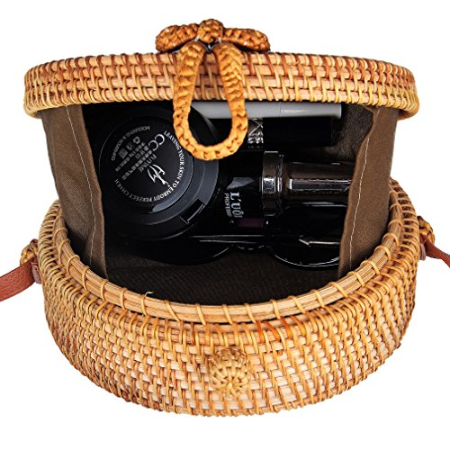 Partrisee Rattan Shoulder Tote bag Round Straw Crossbody bag Handwoven by Bali Artisans for Women by Partrisee (Image #1)