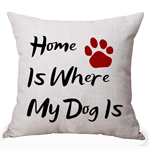 Designer Pillow Dog (Best Gifts For Dog Lover Nordic Funny Sweet Warm Sayings Home Is Where My Dog Is Cotton Linen Decorative Home Office Throw Pillow Case Cushion Cover Square 18X18 Inches)