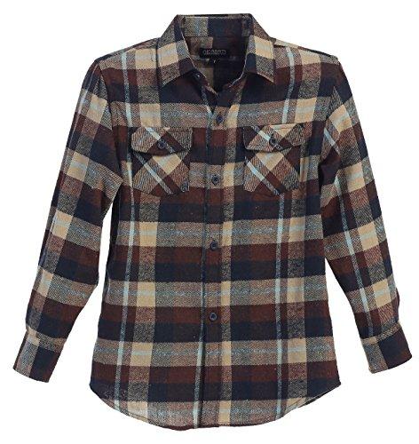Gioberti Big Boys Long Sleeve Plaid Checked Flannel Khaki / Light Blue Shirt, Size 18