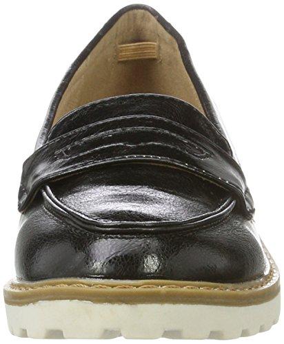XTI Damen Black Metallic Ladies Shoes Mokassin Schwarz (Black)