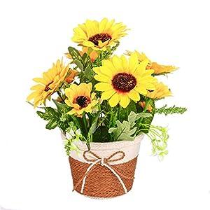 YSZL Artificial Silk Yellow Sunflower in Woven Vase Arrangement for Home Decor 78