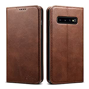 Elehome Samsung Galaxy S10 Plus Wallet Case, Premium PU Leather Wallet Case Flip Folio [Kickstand Feature] with ID & Credit Card Pockets for Samsung Galaxy S10 Plus 6.4 inch (Brown)