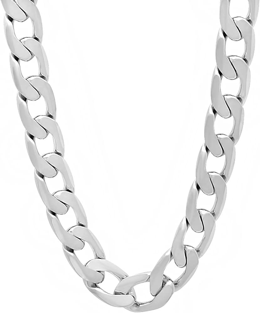 The Bling Factory 9.5mm Rhodium Plated Curb Chai Spring new work one after another Flat Popular overseas Link Cuban