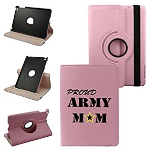 Ipad Air 2 (6th Generation 2014) Proud Army Mom On Pink Cover, Synthetic Leather Rotating Ipad Air 2 Case: 360 Degrees Multi-angle Vertical and Horizontal Stand with Strap (Pink)