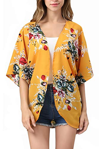 (RJXDLT Womens Floral Print Kimono Cardigan Loose Puff Sleeve Cardigans Patchwork Cover Up Blouse Top Yellow XL 220)