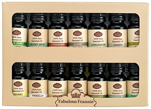 Pure Essential Oils Spice Rack Kit Includes: Basil Sweet, Celery Seed, Cinnamon, Clove, Coriander, Cumin, Dill Weed, Fennel, Vanilla, Ginger, Nutmeg, Oregano, Parsley Seed, (Essentials Rack)