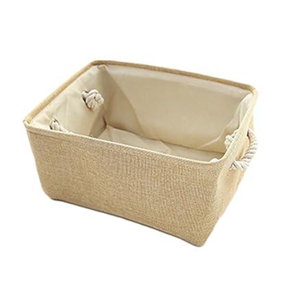 ERRU- Tela de algodón y lino Arte Caja de almacenamiento pequeña Mesa de té de