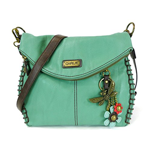 Chala Crossbody with Charming Teal Dragonfly Keychain -9 Color options (Teal) (Green Leather Dragon)