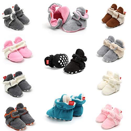 LUWU Baby Boy Girls Newborn Soft Fleece Booties Infant Toddle Crib Shoes Winter Snow Boots (6-12 Months, Blue)