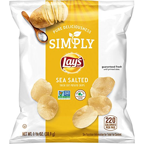 Simply Lay's Thick Cut Sea Salted Potato Chips, 1.375 Ounce (Pack of ()