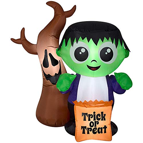 ghi Halloween Inflatable 5' Trick or Treat Frankenstein Monster with Spooky Tree by Gemmy ()