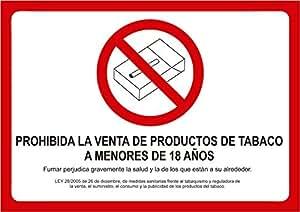 Cartel Prohibida la Venta de Tabaco a Menores de Edad