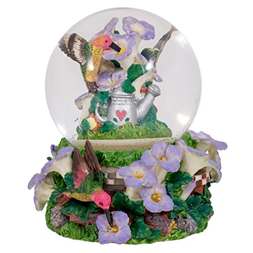 Elanze Designs Hummingbirds Purple Flowers Garden Glass Musical Snow Globe Plays Tune A Few of My Favorite Things