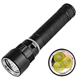 PFSN 3x XM-L2 6000 Lumens LED Dive Light Rechargeable Professional Mini Scuba Diving Flashlight Underwater 100 Meters Waterproof Snorkeling Tactical Lights Safety Torch for Outdoor Under Water Sports