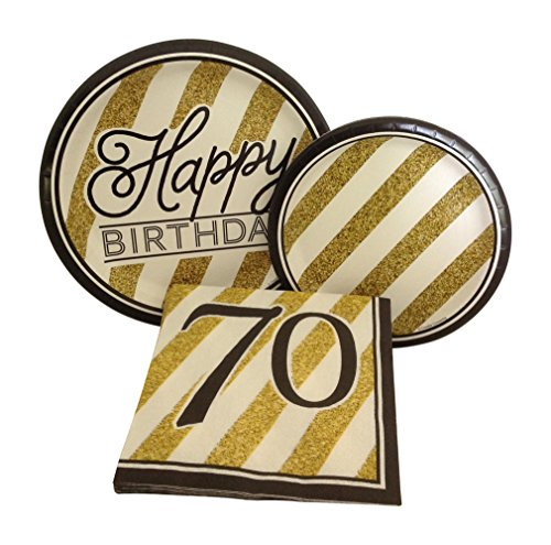 Black and Gold Happy 70th Birthday Party Bundle with Paper Plates and Napkins for 8 Guests -