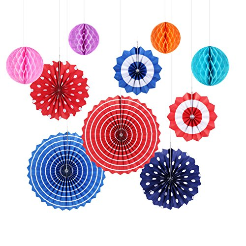 Paper Fan Decorations GoFriend 10Pcs Colorful Fiesta Paper Fans Tissue Paper Honeycomb Balls Hanging Decoration for Birthday Wedding Carnival Baby Shower Home Party Supplies Favors Red Blue Decor